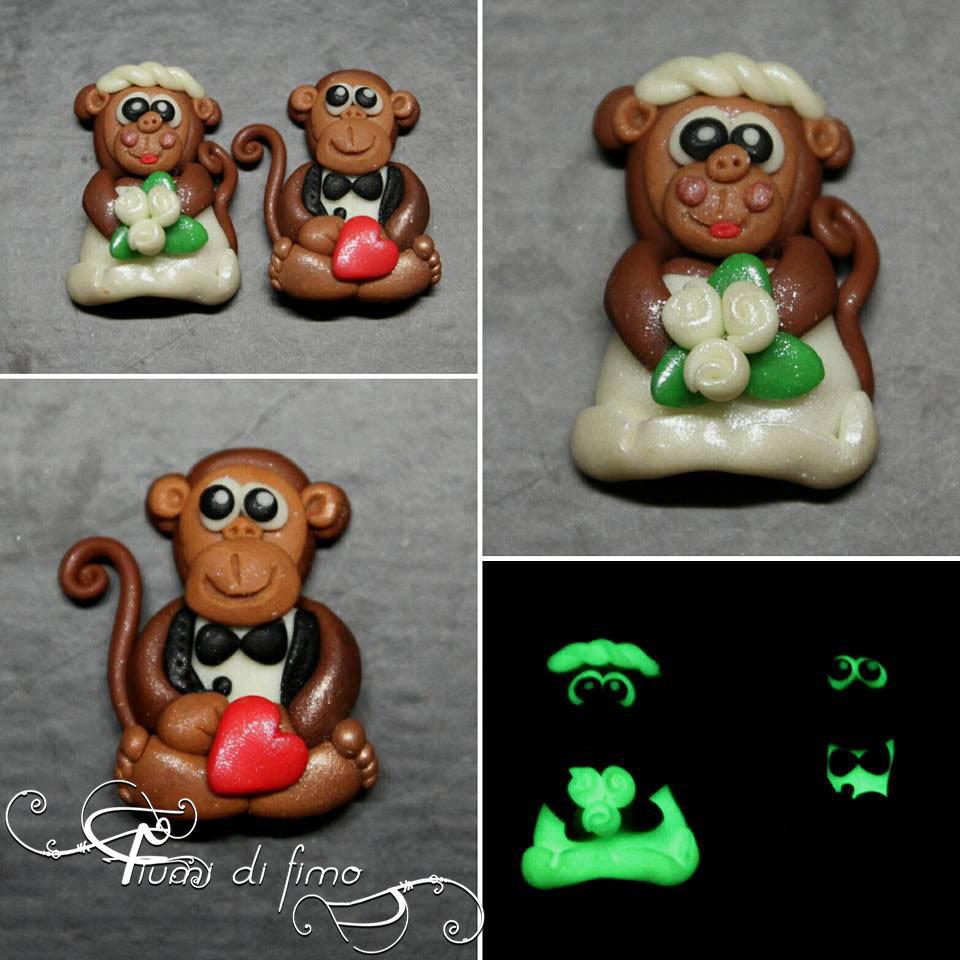 bomboniere matrimonio| bomboniere sposini| calamite scimmiette| scimmiette innamorate in fimo| monkeys in love| bomboniere calamita matrimonio| calamite sposini