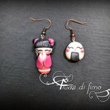 orecchini fimo| orecchini giapponesi fimo| orecchini giapponesi| orecchini pendenti| orecchini sushi| polymerclay earrings| orecchini kokeshi| orecchini AIMI -Bellezza d'amore-