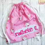 Sacca asilo personalizzata con nome colore rosa con kitty