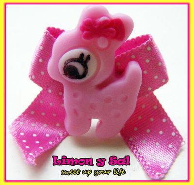 Cute deer ring kawaii polimer clay fimo ribbon fabric bow pink