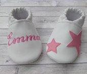 Scarpine ecopelle Stelle Rosa personalizzate con nome - suola antiscivolo. Bimba Neonata