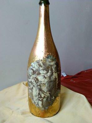 bottiglia decorata a mano