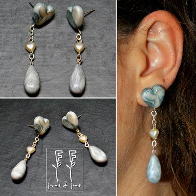 orecchini fimo| orecchini cuore| orecchini effetto marmo| orecchini pendenti| orecchini chiodino| polymerclay earrings| gioielli fimo| orecchini -Cuore di marmo-