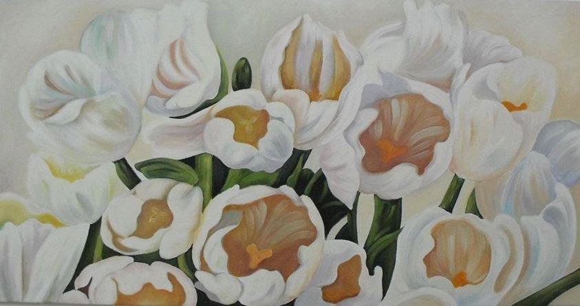 quadro dipinto ad olio raffigurante dei  tulipani bianchi