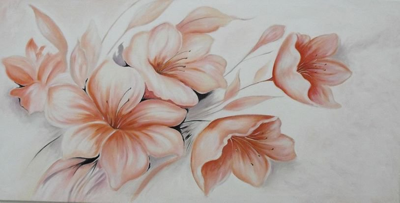 quadro dipinto ad olio raffigurante dei fiori di pesco