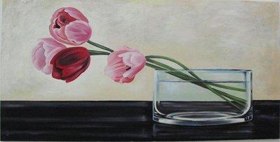 quadro dipinto ad olio raffigurante un vaso con fiori