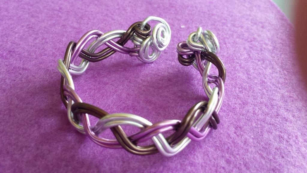 Bracciale semirigido fatto a mano tre colori in alluminio glicine, argento e bronzo