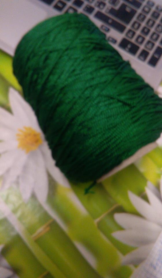 cordino thai effetto seta  verde pino