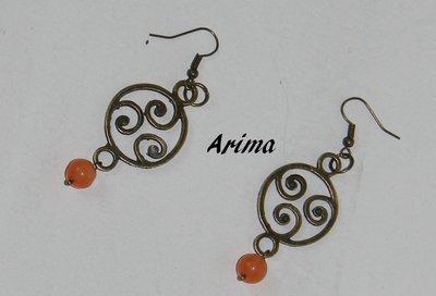 Orecchini in bronzo con pendente  bronzo e perle   art 2