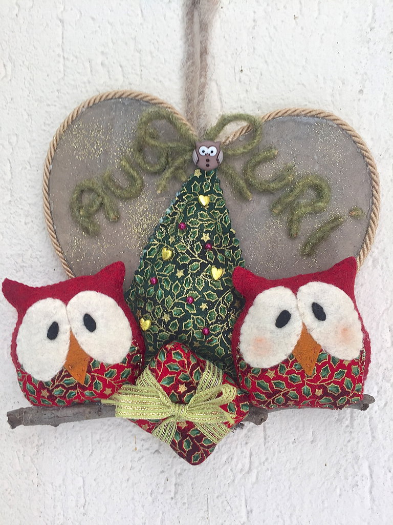 Natale - fuori porta cuore di legno con gufi e albero di natale