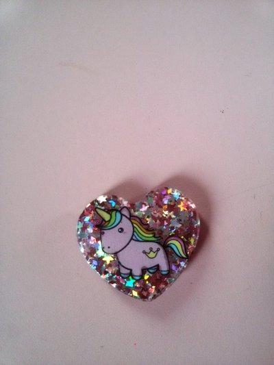 cuore glitter con unicorno