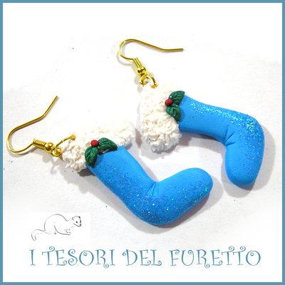 "Orecchini Natale 2016 "" calza befana azzurro glitter "" idea regalo Kawaii bambina bijoux Natalizi"