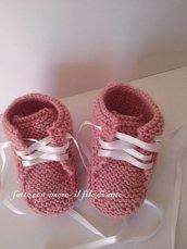 Scarpine stivaletto in lana rosa