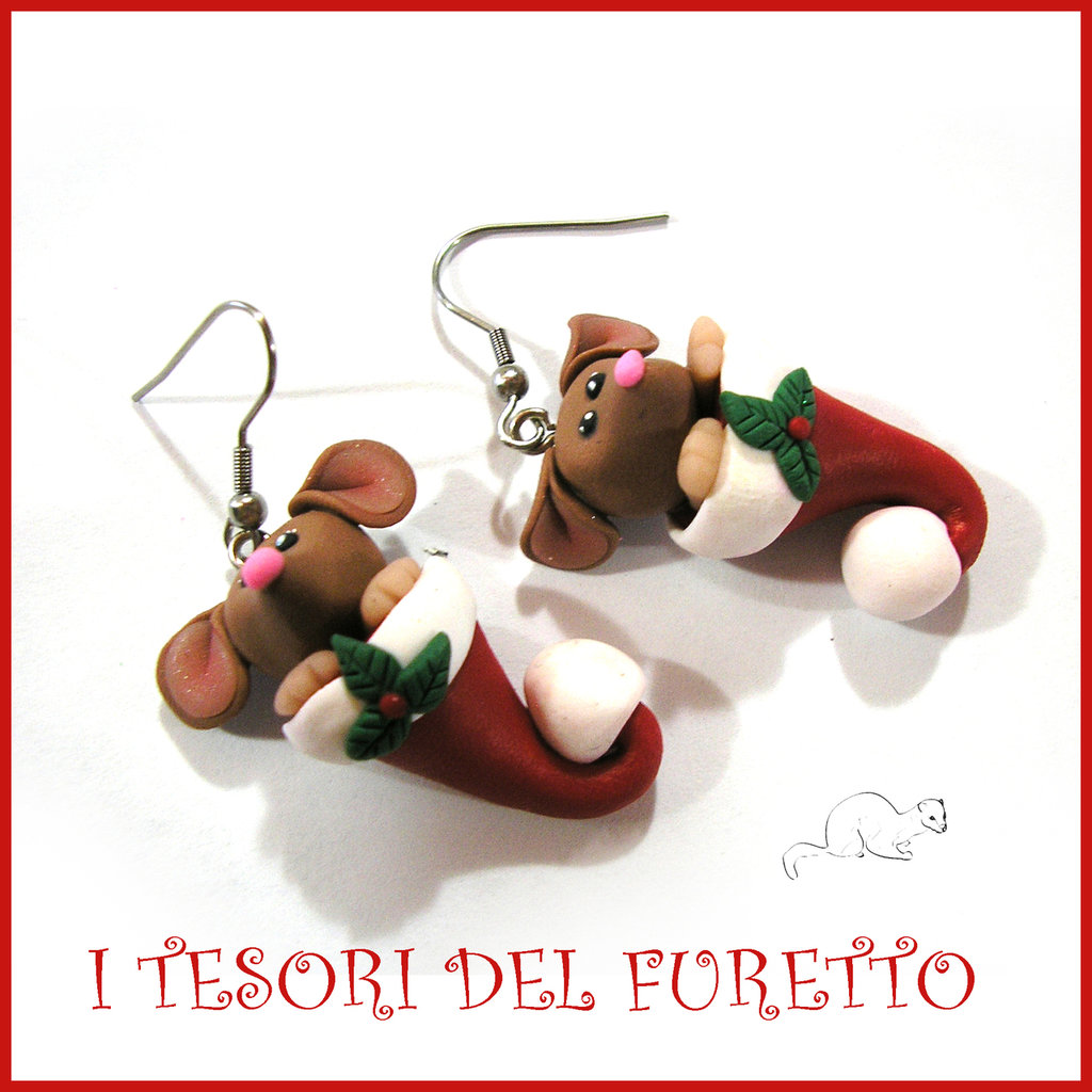 "Orecchini Natale 2016 "" Fucucú topino Kawaii marroncino cappello babbo Natale ""  idea regalo Kawaii bambina bijoux Natalizi"