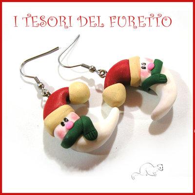 """Orecchini Natale 2016 """" Luna con sciarpa e cappello babbo Natale """" idea regalo Kawaii bambina bijoux Natalizi"""