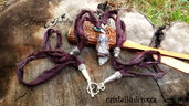 Collana pendente fimo seta sari cristallo stile tibetano boho fantasy