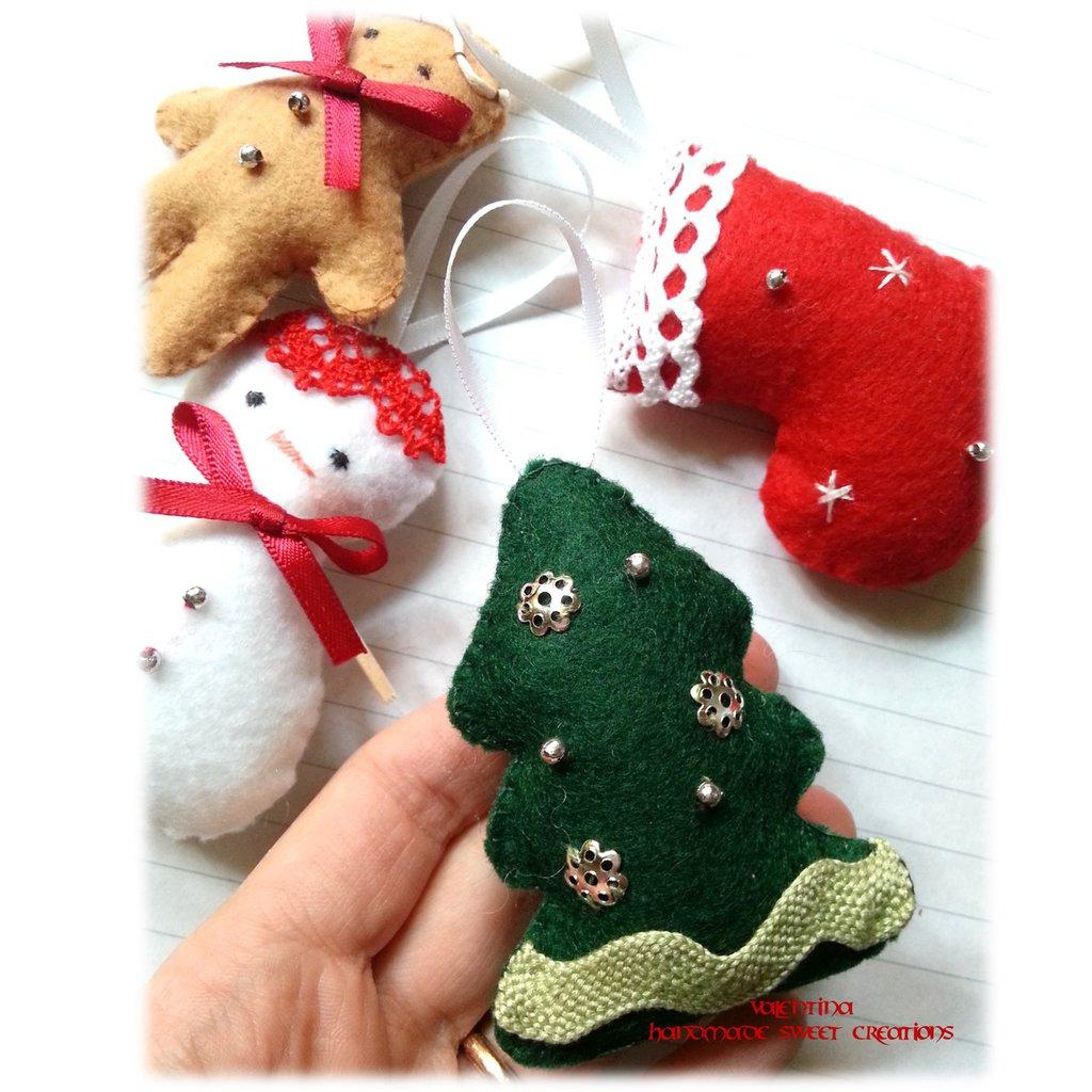Decorazione da appendere all'albero di Natale-alberello in pannolenci