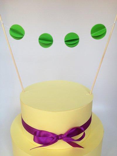 Cake topper con cerchi verdi, 3D