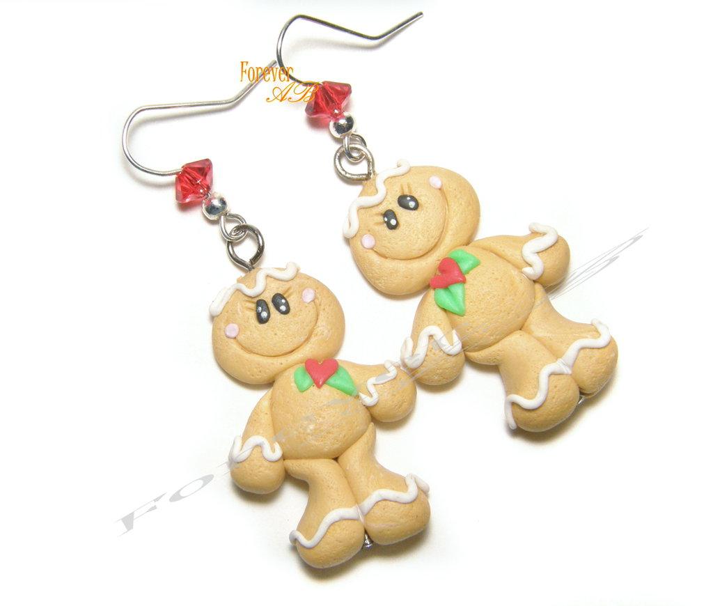 Orecchini omini pan di zenzero natale 2016 fimo natale idea regalo natalizi kawaii gingerbreadman