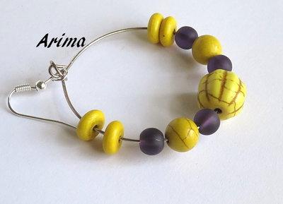 Orecchini a cerchio  giallo e viola   art 6