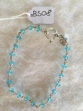 Bracciale in acciaio con piccoli cristalli Swarovski azzurri.