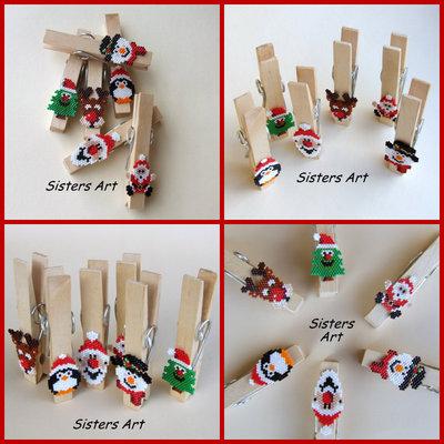 Mollette natalizie realizzate con perline Miyuki delica