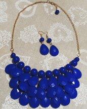 Parure orecchini e collana con pendenti a goccia blu