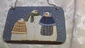 Fuoriporta natalizio con pupazzi di neve