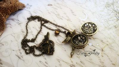 Collana pendente scatola magica apribile bronzo campanellino chiama angeli