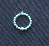 Anello in perle di Boemia e perla d'acqua
