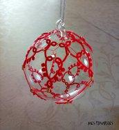 Pallina natalizia in vetro soffiato e pizzo chiacchierino PV7R1C