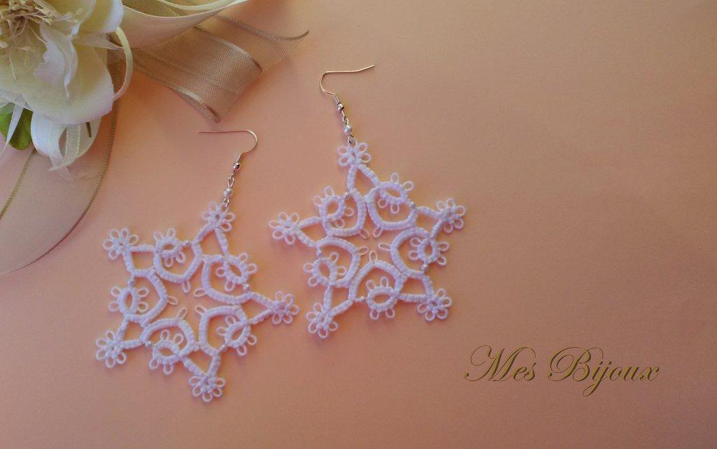 Orecchini moda chiacchierino fiocco di neve pizzo bianco  idea regalo Natale donna ragazza