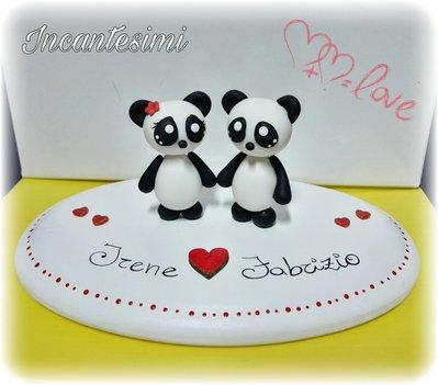 Cake Topper panda innamorati