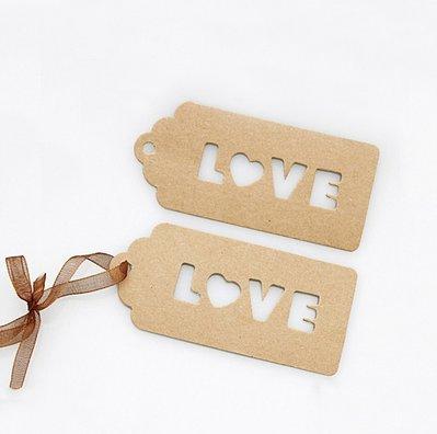 "Tags ""Love"" in carta Kraft Stile Rustic Chic"