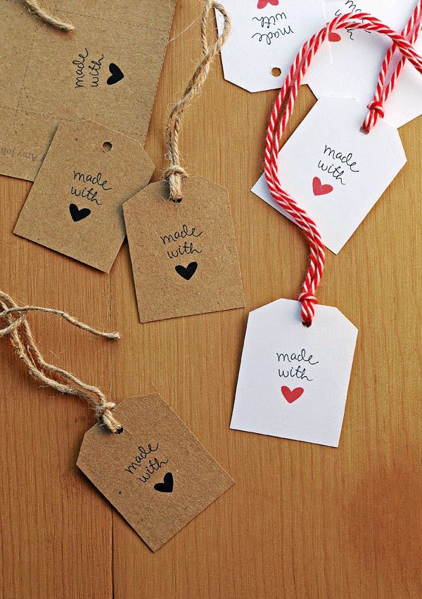 "Tags ""Made with Love"" in carta Kraft Stile Rustic Chic oppure carta bianca"