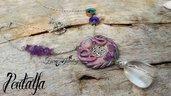 Collana pendente fimo pentalfa magia cristallo ametista viola lilla