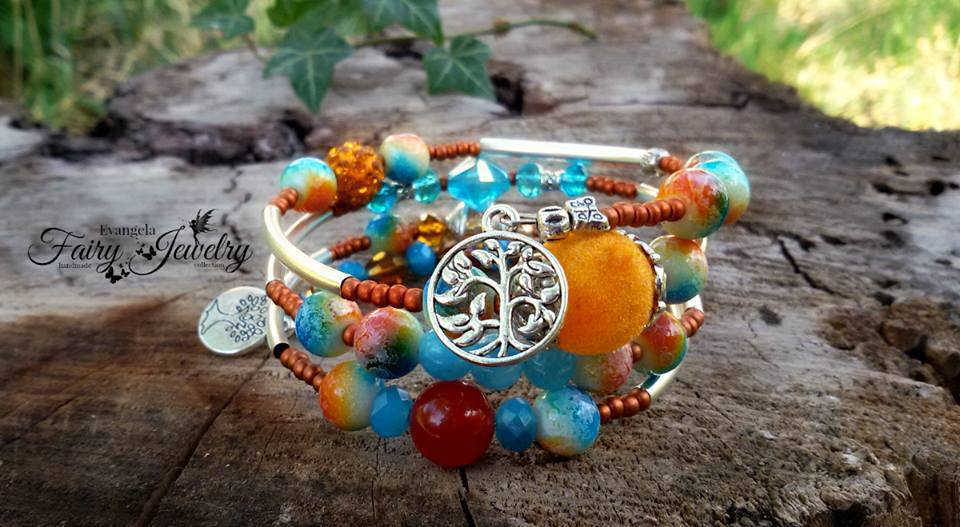 Bracciale spirale avvolgibile perle miste vetro agata velluto ottone shamballa