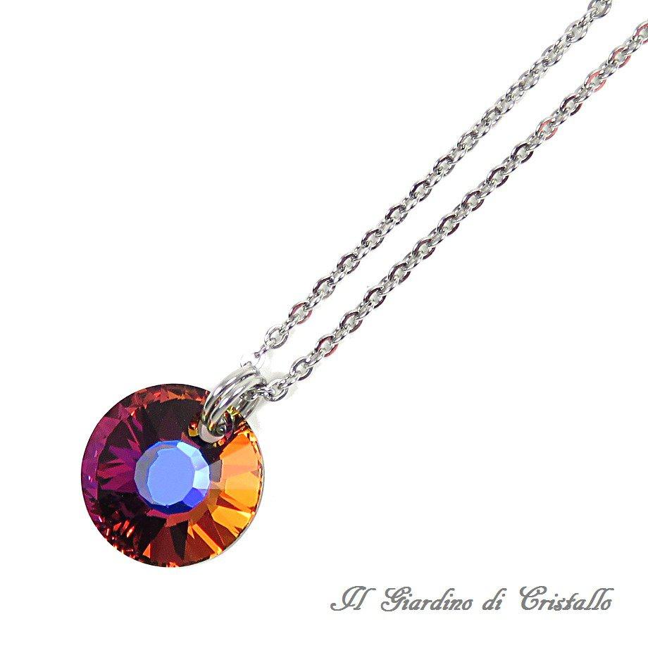 Collana pendente Swarovski Sole Vulcano multicolore in acciaio fatta a mano - Calendula