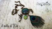 Collana piuma pavone cabochon bronzo vintage bohemian fata