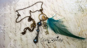 Collana piuma uccello gabbia chiave turchese azzurro bronzo vintage bohemian