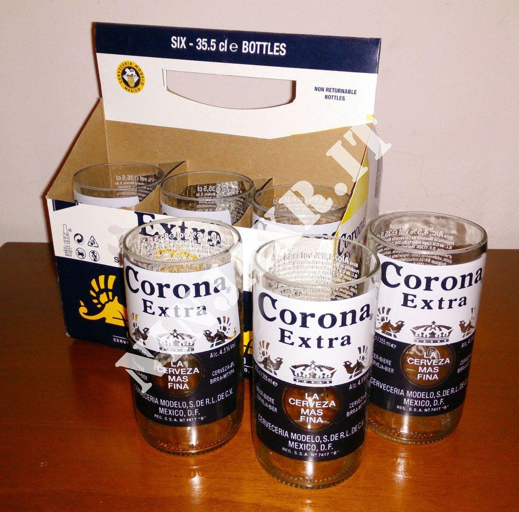 Confezione 6 Bicchieri Tumbler Highball Birra Corona con Portabicchieri