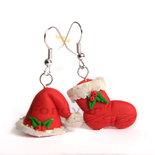 Orecchini Berretto e Calza Natale 2016 natalizi idea regalo fimo