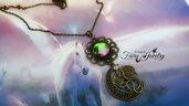 Collana cabochon bicolore vetro dragone bronzo luna filigrana