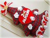 Albero natalizio in stoffa decorato e dipinto a mano