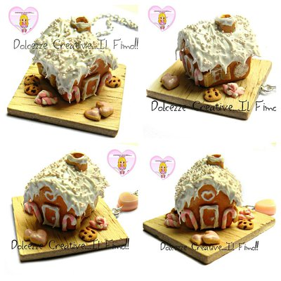 ☃ Natale In Dolcezze 2016 ☃  Ginger House - Casetta di marzapane in fimo e cernit con cookie biscotti a cuore - pastl