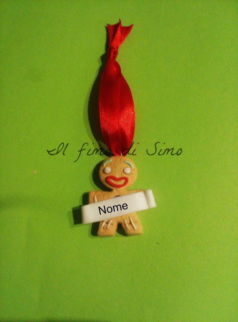 decorazione natalizia per albero di natale con omino biscotto in pasta polimerica