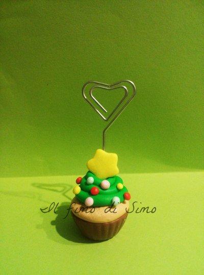 segnaposto portafoto cupcake albero di Natale in pasta polimerica