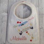 Bavaglia per neonato Matrimonio personalizzata con il nome degli sposi e del bimbo o bimba
