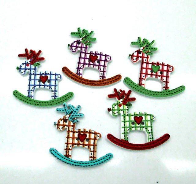 NATALE CREATIVO 10 bottoni in legno stampati a forma di renna di Natale