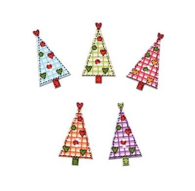 NATALE CREATIVO 10 bottoni in legno stampati a forma di albero di Natale